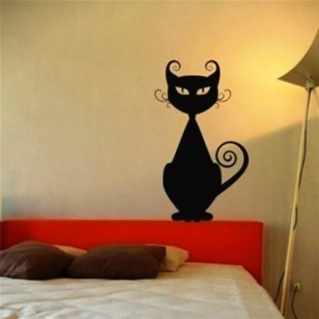 Black Cat Wall Stickers, Modern Interior Decorating Ideas