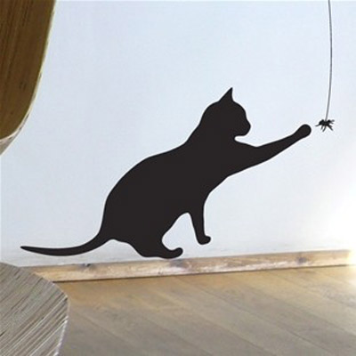 playing black cat wall sticker