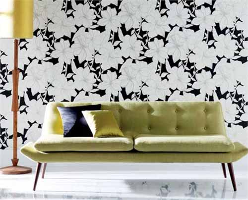 white and black wallpaper for modern living room design