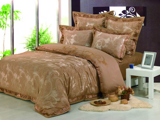 light brown bedding set with golden details