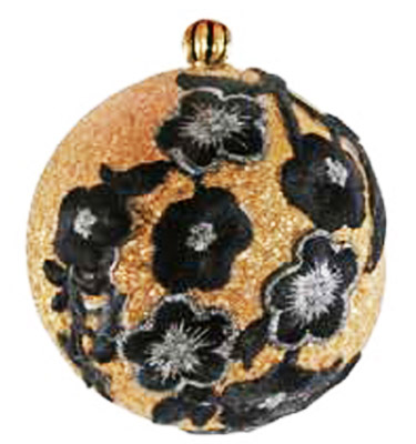 golden christmas tree balls with black flowers made of velver fabric