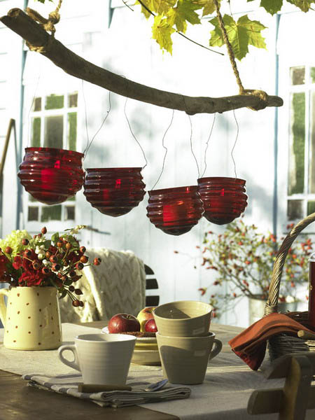 11 Candles Centerpieces With Rowan Berries And Rose Hips