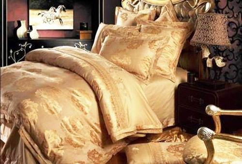 silk bedding set in golden brown color