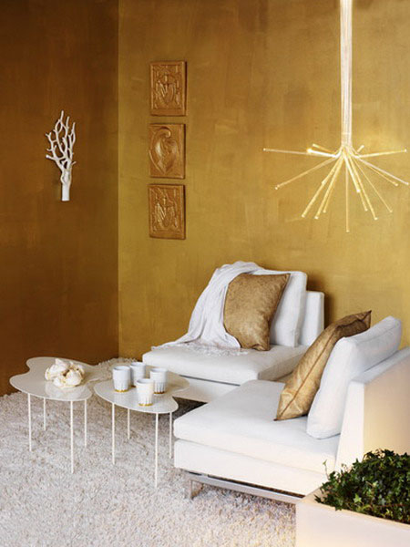 Golden Interior Decorating Ideas Modern Room Decor