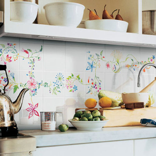 32 Painted Kitchen Wall Designs: Hand Painted Wall Tiles, Simple Ways To Decorate Old