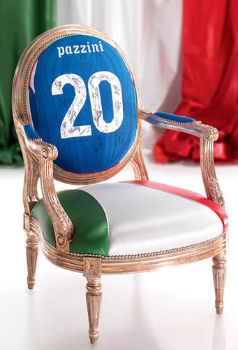football chair, italian furniture design in national flag colors