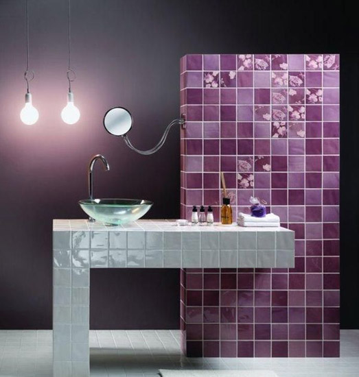 Purple Bathroom Tiles And Monichromatic Color Scheme