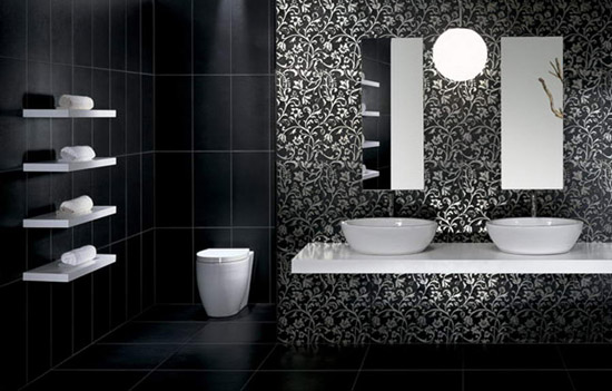 modern bathroom tile design. Delighful Tile Modern Bathroom Tiles In Black And White Monochromatic Color Schemes  Interior Design Trends 2012 For Bathroom Tile Design S
