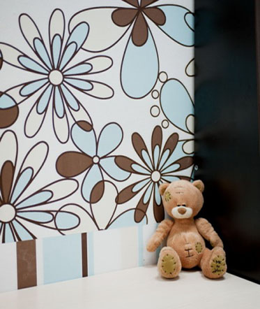 light blue and brown wallpaper for kids rooms decorating