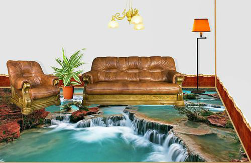 waterfall for self leveling floor design and modern living room furniture