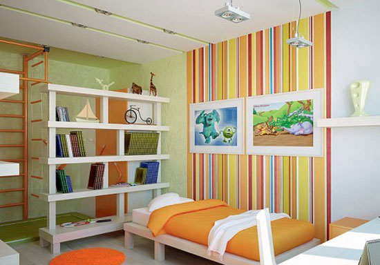 colorful stripes on modern wallpaper for kids rooms decor