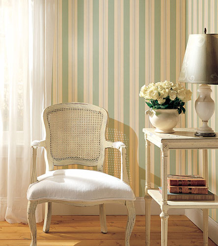 White And Blue Striped Wallpaper Living Room Furnishings