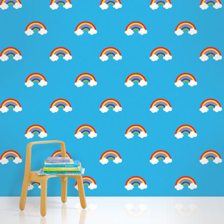 blue wallpaper for children bedroom decorating