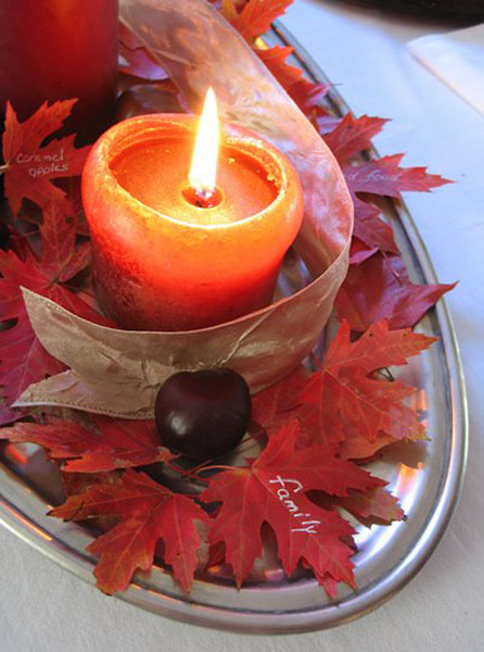 red candle centerpiece idea