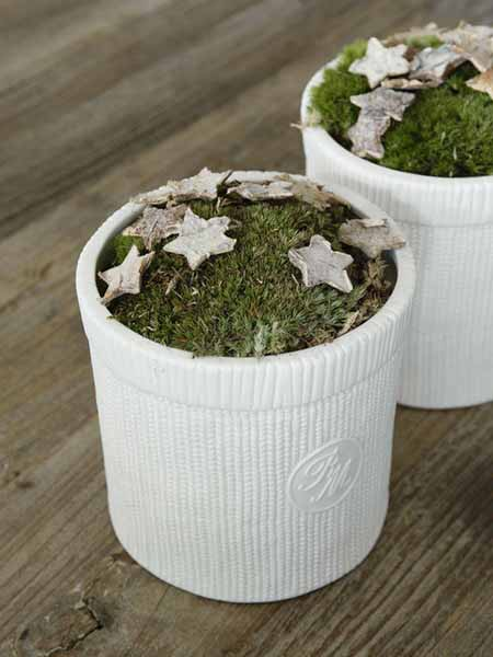 white plant containers with moss and wooden stars