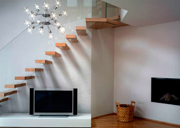 modern stairs design made of glass and wood