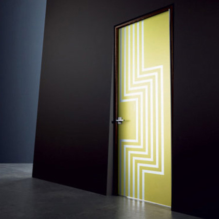 yellow green interior door with white stripes