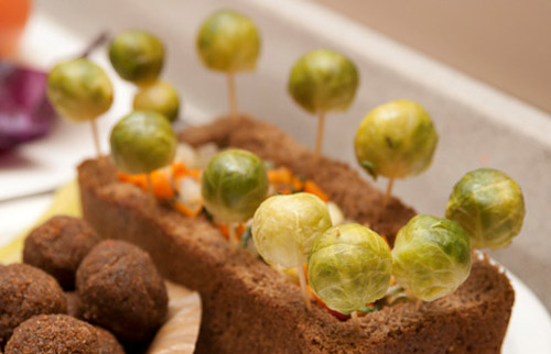 rye bread and brussels sprouts