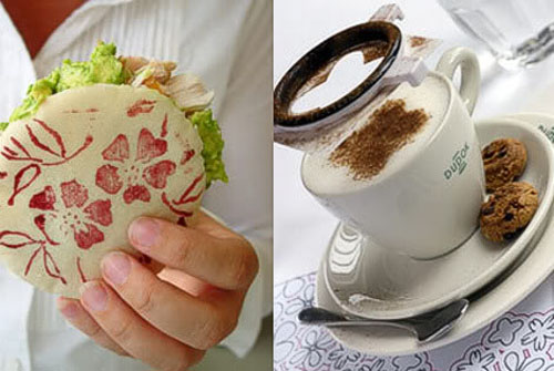 coffee cup and sandwich decoration with flowers