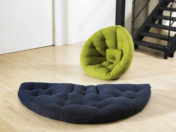 Black Round Futon Mattress And Green Chair E Saving Furniture Design