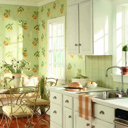green wallpaper pattern with apples