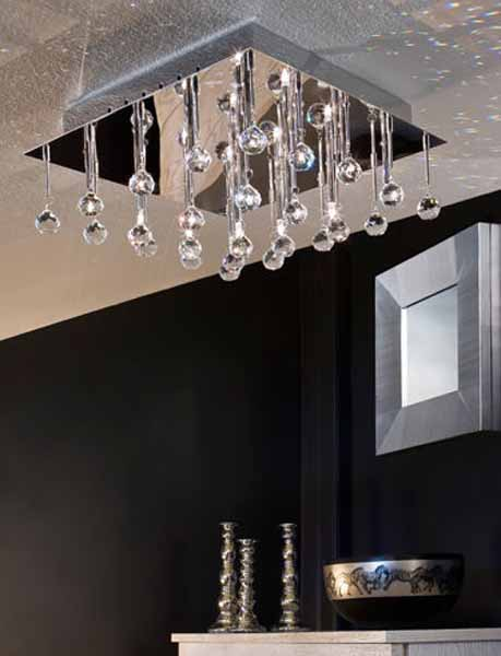 Clear Glass Ball Chandelier For Modern Living Room Decorating