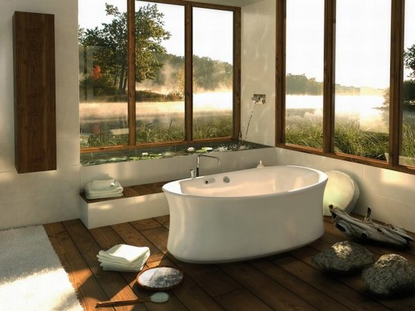 modern bathroom woth large windows and oval bathtub in white color