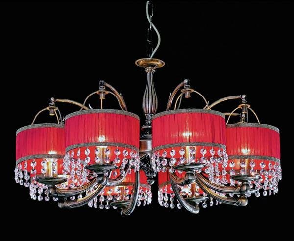 crystal chandelier with red lampshades