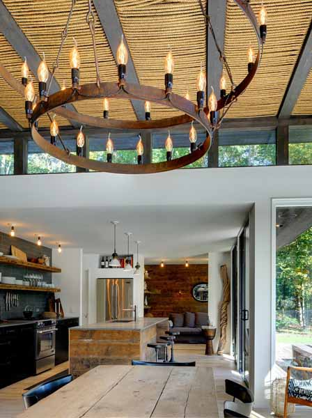 modern interior design ideas natural rope ceiling design and reclaimed barn wood. Black Bedroom Furniture Sets. Home Design Ideas