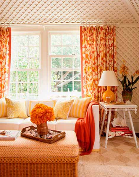 Tangerine Living Room Decor: Orange Room Colors, Pantone Tangerine Tango, Modern