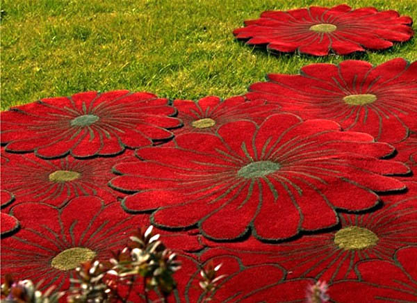 contemporary rugs with red flower designs