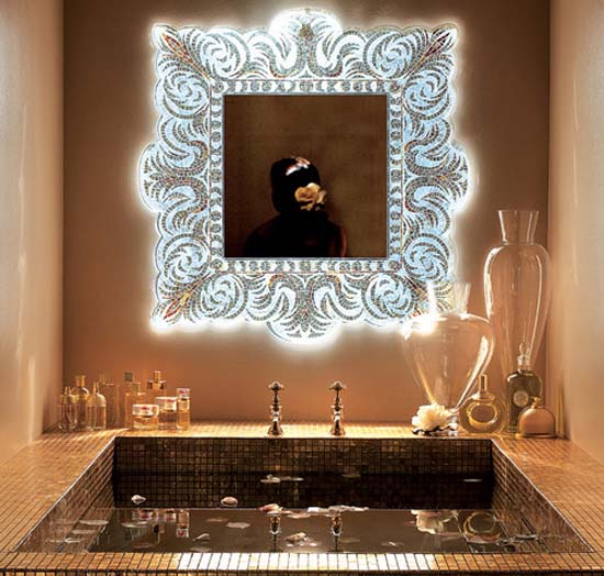 decorative mirror made of mosaic tiles for bathroom