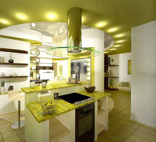 Green Apple Kitchen Design And Decoration Theme, White And