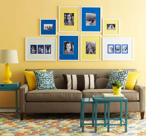 Yellow Painting And Blue Wall Decorations Sunny Modern Living Room Decorating Ideas