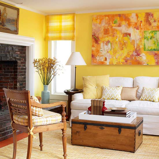 Yellow Paint And Wall Art For Modern Living Room Decorating