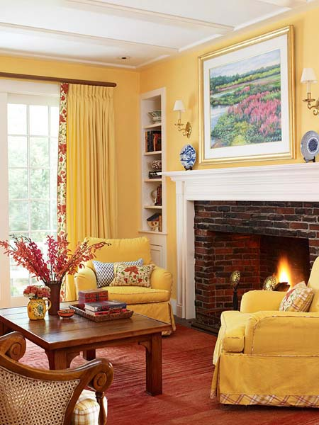 Modern Room Designs And Colors: Modern Interior Decorating With Yellow Color, Cheerful