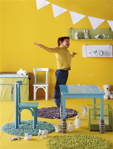 Yellow Paint On Walls And Light Blue Kids Rooms Furniture