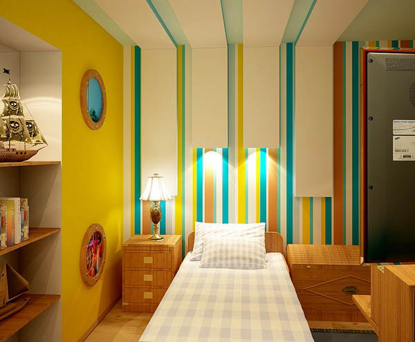 Decorating And Painting Ideas For Kids Rooms Yellow Paint Green Blue Turquoise Stripes On The Wall Ceiling