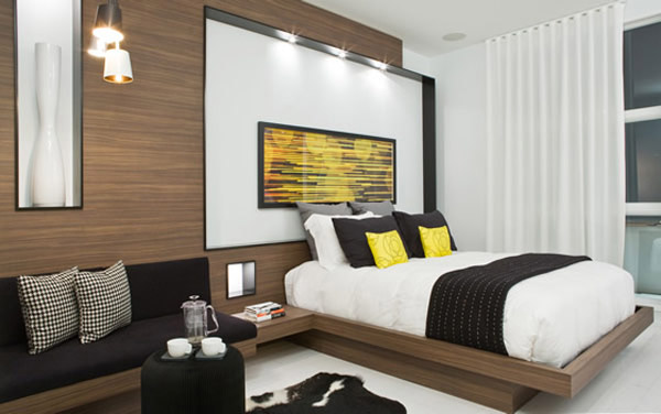 Contemporary Bedroom Decor In White And Brown Colors With Yellow, Green And  Orange Room Decor Accents