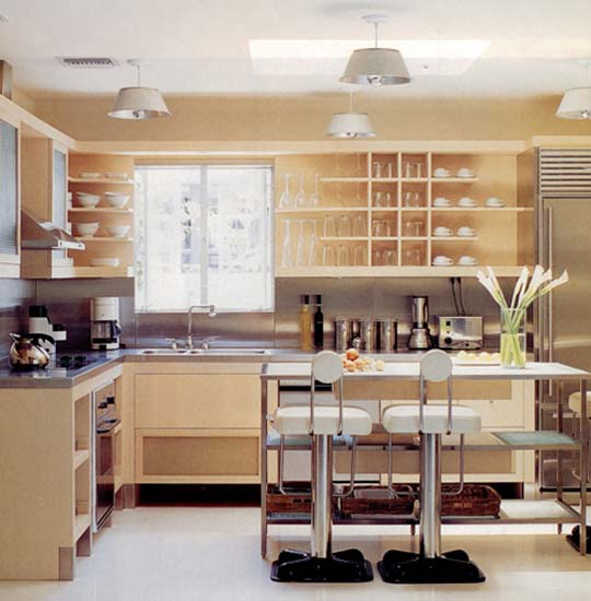 Modern Kitchen Shelf Design: Retro Modern Kitchen Decorating Ideas, Open Kitchen