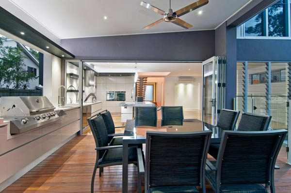 modern kitchen interior with dining furniture