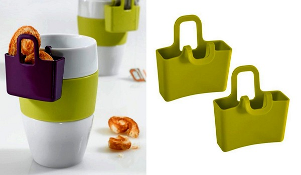 white coffee cups with green bags