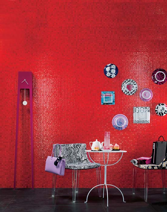 red mosaic tiles for dining room decorating