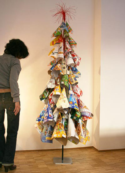 reuse and recycle paper boxes and packages for creating unusual christmas tree for green holiday - Unique Christmas Tree Ideas