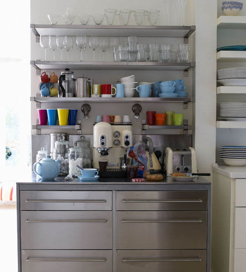 Kitchen Shelves Wall Mounted: Retro Modern Kitchen Decorating Ideas, Open Kitchen