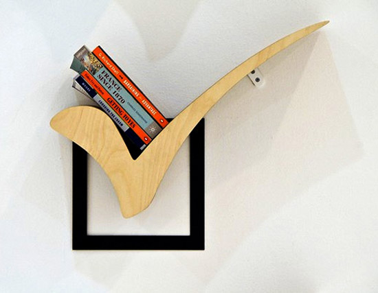 modern book shelf that look like check mark