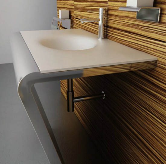 white corian bathroom sink with stainless steel console