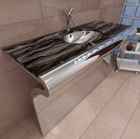 Stainless Steel Bathroom Vanity With Integrated Into Marble Countertop Still Sink