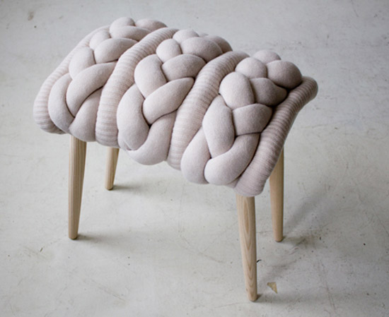 modern chairs and stools with knitted cushions