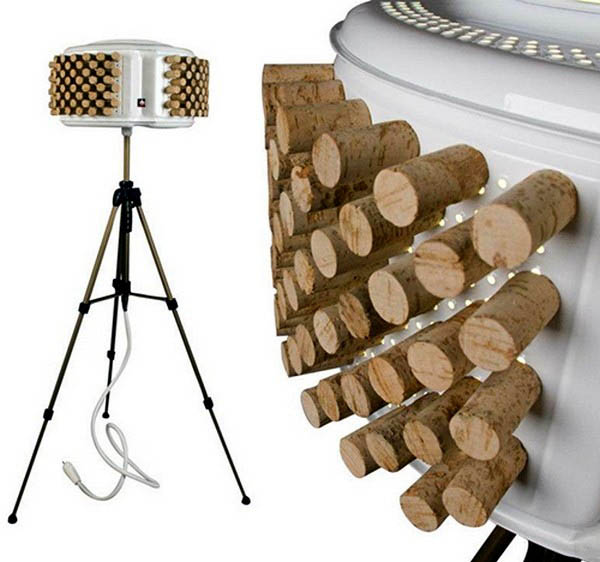lamp shade made of wine bottle corks and washing machine